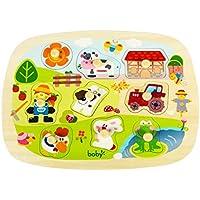 Boby's Wonderland Puzzles Madera Animales de Granja Encajable Juguete Para Bebes Infantils 9 Piezas.