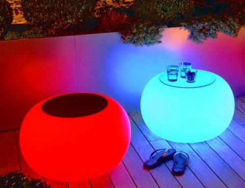 Bubble tabouret/table lED lumineux avec pieds diamètre 68 cm-hauteur: 41 cm-surface: 40 cm-polyéthylène blanc mat avec culot e27 230 v vielfarben lED avec télécommande pour l'extérieur