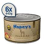 Hopey's hypoallergenes Hundefutter Hirsch und REH für Hunde, 86% reines Muskelfleisch, 6X 440g Dosen