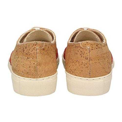 ZWEIGUT® -Hamburg- echt #406 Damen Sneaker vegane Korkschuhe auf federleichter Laufsohle, Schuhgröße:37, Farbe:rot-kork - 4