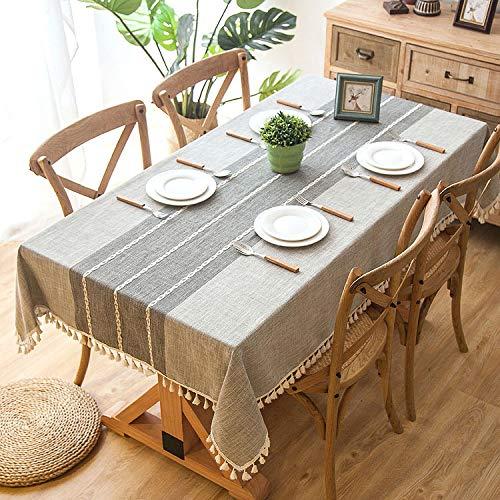 Tischdecke, Rechteck Baumwolle Leinen Tischdecke Stickerei Quaste Tabletop Protector Für Esszimmer Küche Decor,D-180x120cm