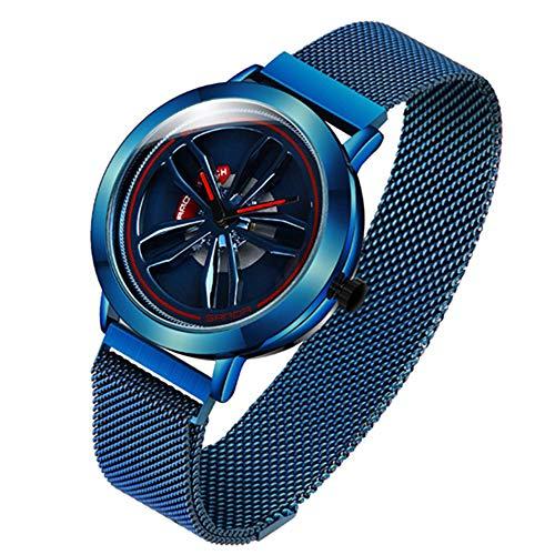 XQZ Armbanduhr männer,Sportuhren herrenMagnet Herrenuhr Top Brand Brand Rose Gold Mesh Watch Herrenmode Business Watch