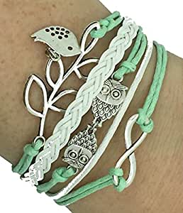 Vintage Handmade Infinity Silver 8 Owl Leaf Bird Leather Bracelet Wristband including gift box by Boolavard® TM