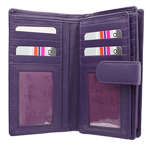 Mala Leather Collezione ORIGIN Portafoglio in Pelle con protezione RFID 3178__5 Blu marino Porpora