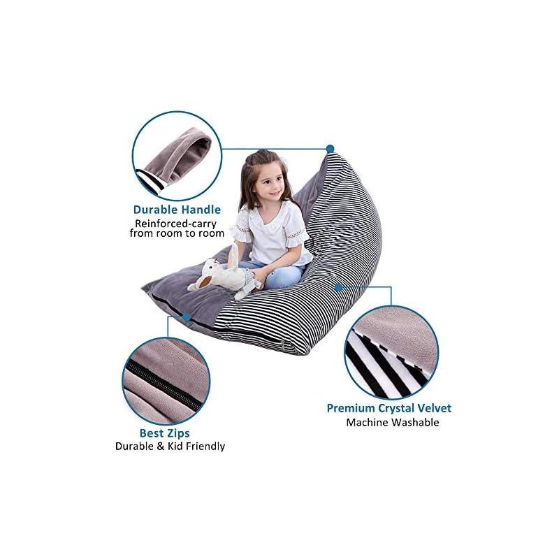 Stuffed Animal Bean Bag Chair Kids Toy Storage Organizer Stuffie Seat, Foldable Floor Chair Sofa Toy Storage Bean Bag…