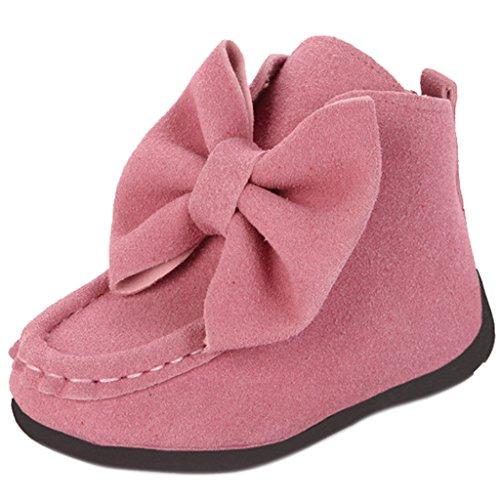 Maxu Girl's hiver imitation Big en chaussures à enfiler Rose