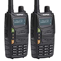 Walkie Talkies 5W Long Rang (10miles/16km) FM Two Way Radio Transceiver with Dual Band UHF/VHF136-174/406-470MHz for Outdoor/Riding/Climbing/Camping/Road trip by Wanhua 2packs