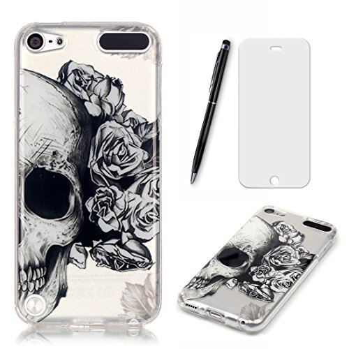 Lotuslnn iPod Touch 5G/6G Hülle, iPod Touch 5 Case TPU Silikon Transparent Schutzhülle Tasche Housse (Hülle+ Stylus Pen + Tempered Glass)-Schädel