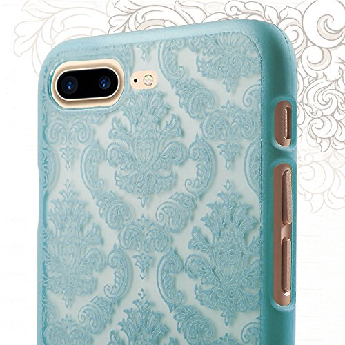 Fogeek Schutzhülle für iPhone 7 Plus Neue Modelle Harte Plastik Schutz Handy Hülle Case, Baroque Retro Court Lace Pattern (iPhone 7 Plus, Schwarz) Grün