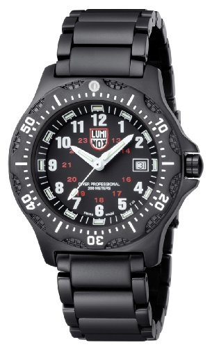 Luminox Ultimate Navy SEALs Black OPS Series - Reloj analógico de caballero de cuarzo con correa de acero inoxidable negra - sumergible a 200 metros