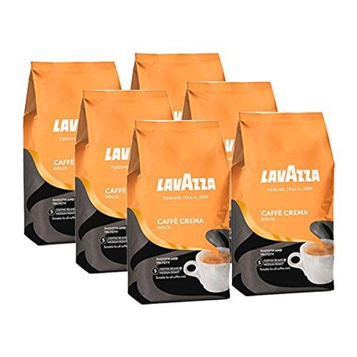 Lavazza Kaffee Caffè Crema Dolce, ganze Bohnen, Bohnenkaffee (6 x 1kg Packung)