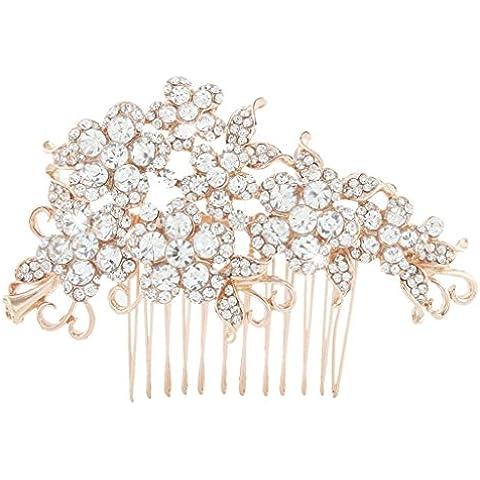 Ever Faith Dei capelli del fiore di cristallo austriaco pettine chiaro Rose-Gold-Tone A07500-3
