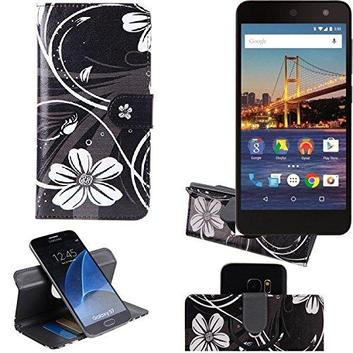 K-S-Trade Schutzhülle für General Mobile 4G Hülle 360° Wallet Case Schutz Hülle ''Flowers'' Smartphone Flip Cover Flipstyle Tasche Handyhülle schwarz-weiß 1x