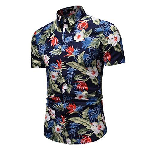 Fenverk Herren Hemd Hawaiihemd Kurzarm Urlaub Freizeit Reise Shirt Strand Blumen BeiläUfige Hemden Aloha FüR Party Feiertag(Mehrfarbig-12,L)