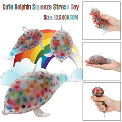 IGEMY Dekompressions Spielwaren - Bunte Spongy Dolphin Bead Stress Ball Spielzeug Squeezable Stress Entlasten Puppe Vent Spielzeug (Colorful)