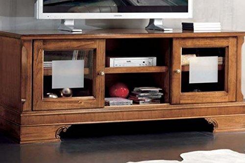 Legno&Design Porte TV avec Socle sculpté et Portes à Verre