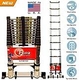 Euro Telescopic Aluminium ladder 5.2 mtr (17.5 feet) - Stores at 3.5 feet - Made in USA - New Tip N Glide Wheels & Ultra Stabilizer - Portable - Soft close
