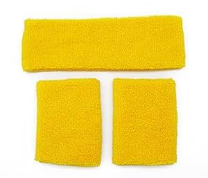 Fancy Dress - Neon Yellow Sweat Headband & Wristbands One Size Fits All