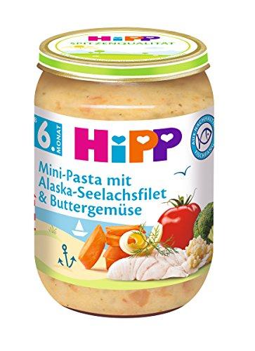 HiPP Mini-Pasta mit Alaska-Seelachsfilet und Buttergemüse, 6er Pack (6 x 190 g)