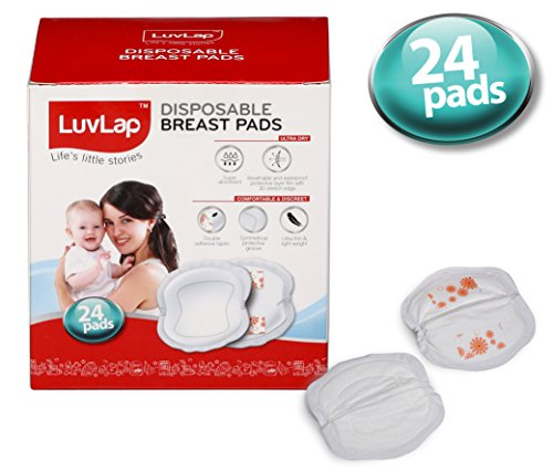 LuvLap Disposable Breast Pads - Ultra Thin and Super Absorbent, Pack of 24