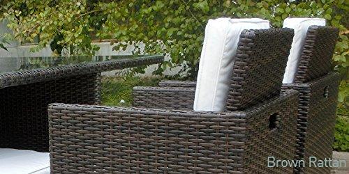 Harts Premium Rattan Dining Set, Cube 8 Seats Garden Patio Conservatory Furniture inc Rain Cover & Parasol (Brown)