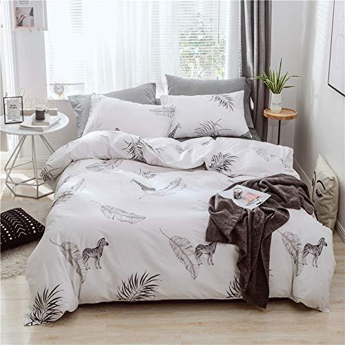 BestBed Zoo Bettwäsche Tröster Set mit 100% Baumwolle Zebra Giraffe und Pflanze Bettbezug Set mit Kissenbezug Einfache weiße Bettwäsche Quilt (Size : EU-Single(135X200cm)) -