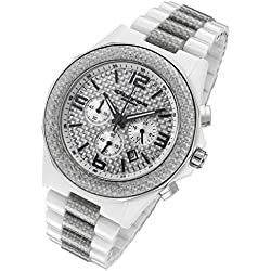 Cirros Milan White Explosion Ceramic and Silver Carbon Fiber Men's Chronograph Watch