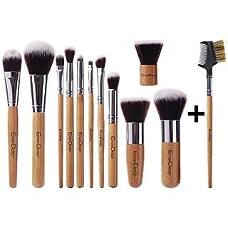 EmaxDesign Makeup Pinselset Professionell 12 Teilig Bambus-griff Premium synthetisch Kabuki Foundation Blending Blush Concealer Augen Gesicht Flüssig Pulver Creme Kosmetikpinsel Set inkl. Tasche