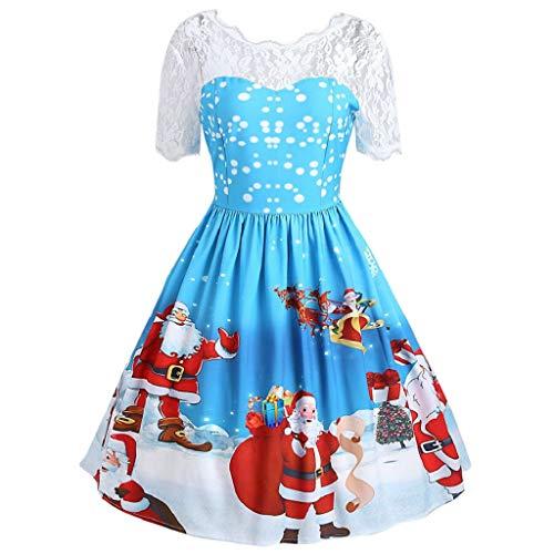 (Luckycat Damen Frohe Weihnachten Vintage Weihnachtsmann Print Lace Abend Party Kleid Abendkleider Cocktailkleid Partykleider Blusenkleid Mode 2018)