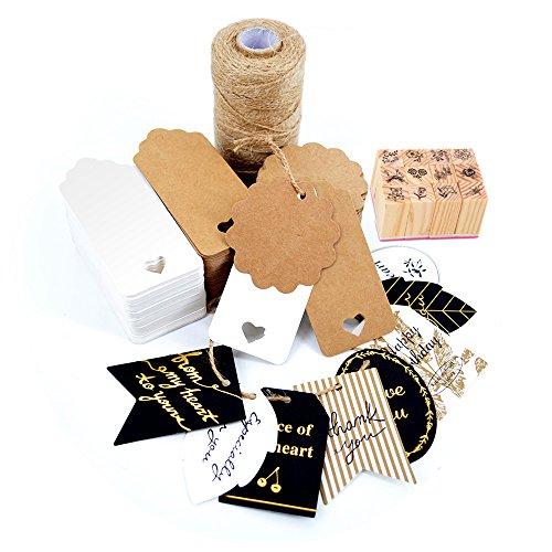 Okaytec kit 304 pz decorazioni lavoretti fai da te - 300 pz etichette marroni & bianche + 2 pz biglietti ringraziamento + 1 spago juta per confezioni regali + 1 timbro per sigillare confezioni