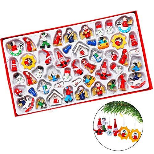 �nger Hänger Holz Weihnachten, Slimerecne, 48 Weihnachtsanhänger Weihnachtsmann Schneemann Engel Schaukelpferd Baumschmuck Weihnachten Deko Anhänger ()