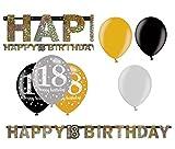 Feste Feiern Geburtstagsdeko Zum 18 Geburtstag   7 Teile Luftballons Girlande Banner Gold Schwarz Silber Party Deko Set Happy Birthday