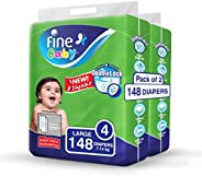 Fine Baby Diapers, DoubleLock Technology , Size 4, Large 7 - 14kg , Mega Pack. 2 packs of 74 diapers, 148 tota