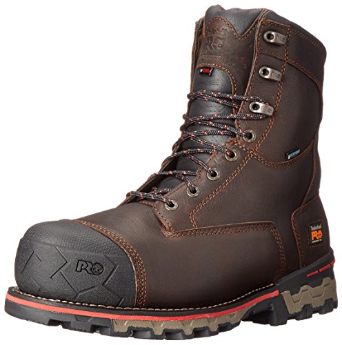 Timberland PRO Men's 8 Inch Boondock Comp Toe WP INS 1000 Work Boot, Brown Tumbled Leather, 9 W US Wp Work Boot