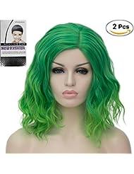 Beauty & Gesundheit Accessoires Lange Perücke Grau & Pfau Grün Zwei Farben Volumen Trendfrisur Wig C913
