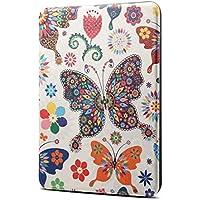 XHC Funda Estuche Protector de Cuero con diseño de Mariposa de Colores con tirón Horizontal PU para Amazon Kindle Paperwhite 4 (2018), con la función de Dormir y Despertar