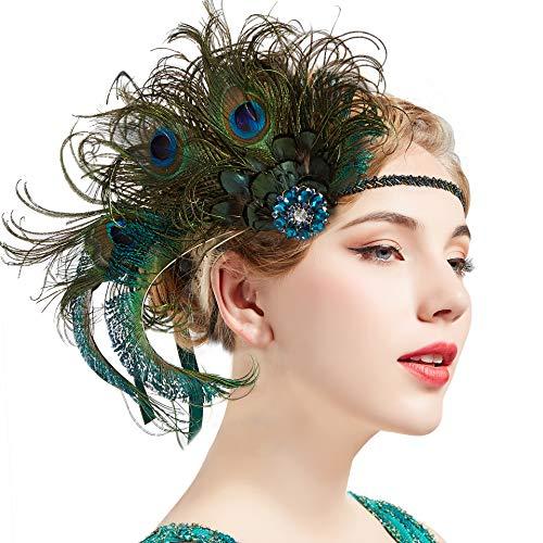 ArtiDeco Damen 1920s Stirnband Pfau Feder 20er Jahre Stil Flapper Haarband Inspiriert von Great Gatsby Damen Kostüm Accessoires (Pfau) (Gotik Kostüm)