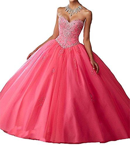 ANJURUISI Frauen Schatz Vestidos De 16 Royal Ball Prom Kleider Quinceanera Kleider Rosa-40 (Quinceanera De Vestidos)
