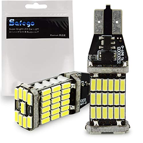 Safego 2 x LAMPADINE T15 W16W LED bianche canbus senza errori 921 912 45 SMD 4014 12V Replacment e Reverse Auto luce di retromarcia Lampadina auto Reversing light frenatura lampadine LED 6000K