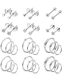 Milacolato 30 Piezas Pendientes de Cartílago de Acero Inoxidable Aros Para Hombres Mujeres Pendientes de Botón Pequeños Bola CZ Tragus Concha Helix Piercing Pendientes Joyas