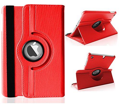 Top&Easy Tech® PU Leder Schutz Hülle 360° drehbar Case für iPad Mini 3 / iPad Mini 2 Retina / iPad Mini Flip Tasche Cover Etui Rot (inkl. Schutzfolie, Touch Stift) Schutzhülle Lederhülle mit Schwenkbar flexiblem Ständer Horizontal & Vertical View Leather Cover mit An/Aus und Stand Funktion (Rot)