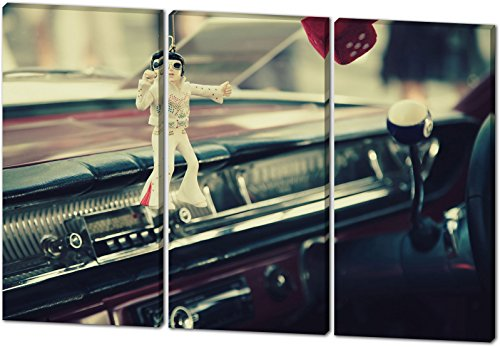 Oldtimer Rocker, schönes und hochwertiges Leinwandbild zum Aufhängen in XXL - 3 Teiler mit 120cm x 80cm, echter Holzrahmen, effektiver Pigmentdruck, modernes Design für Ihr Büro oder Zimmer (Thriller Kostüm Für Verkauf)