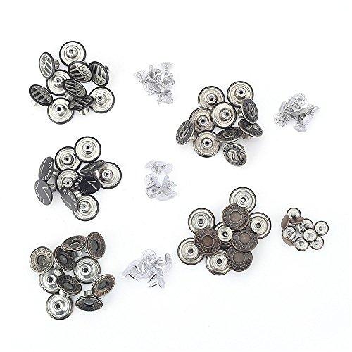 Metall Jeans Knöpfe 50Sets ohne nähen Hammer auf Nieten DIY Reparatur 1,7cm (17mm) Jeans Röcke Hosen zu eng oder auch lose Fix It -