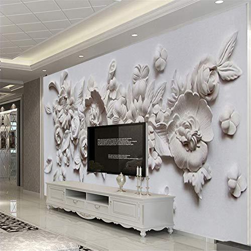 Zybnb Benutzerdefinierte Fototapete Europäischen Stil 3D Stereoskopische Relief Blume Wandbild Papier Wohnzimmer Schlafzimmer Nachtwand Malerei-200X140Cm