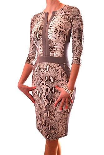 PoshTops Damen Animal-Print-Kleid Dehnbares Material Zip-Up Frauen Kleid 3/4 Ärmel Größen S – XXXL Abendkleidung Freizeitkleidung Plus Size (Taupe, L / 42) (Animal-print Plus Size)
