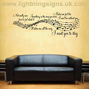 stay music song lyrics notes quote sticker wall art lounge bedroom