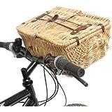 PedalPro Folding Lid Wicker Bicycle Picnic Basket