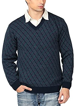 aarbee Men's Blended Sweater (Navy, Small)