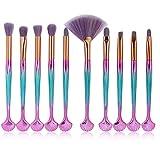Edary Set di pennelli trucco 10 Pennelli champagne oro Accessori trucco Pennello ombretto Strumenti di bellezza (Rosa blu)
