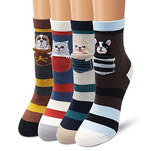 Ambielly Socken aus Baumwolle Thermal Socken Erwachsene Unisex Socken (4 Streifen Hunde) -